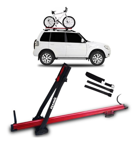 suporte de teto bicicleta transbike eqmax alumínio vermelho