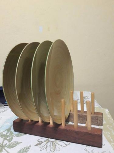 suporte em madeira para 12 pratos