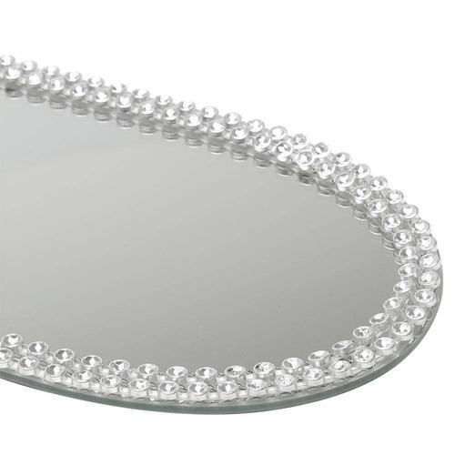 suporte espelhado oval para banheiro com decoração ja