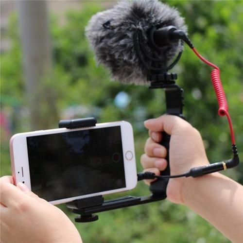 suporte flash de mão l duplo câmera 2 sapatas iluminador