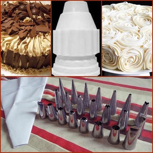 suporte giratório para bolo+kit de bicos p/ confeitar 24 pçs