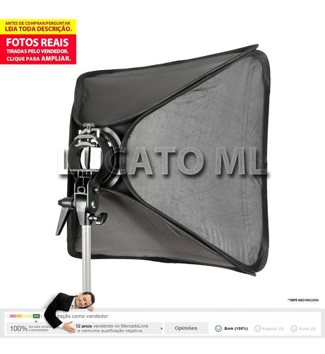 suporte godox stype p/ flash speedite + softbox 60cm +maleta