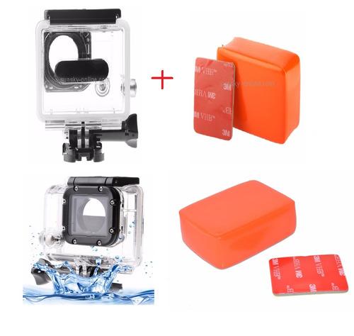 suporte gopro novo caixa protetora+boia flutuante+adesivo 3m