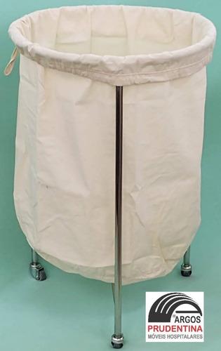 suporte hamper inox p/ roupa hospitalar rodízio metálico