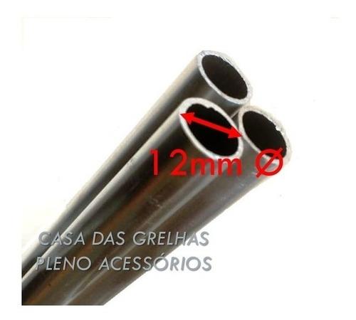 suporte inox p churrasqueira 5 posições + 6 tubos alum  60cm