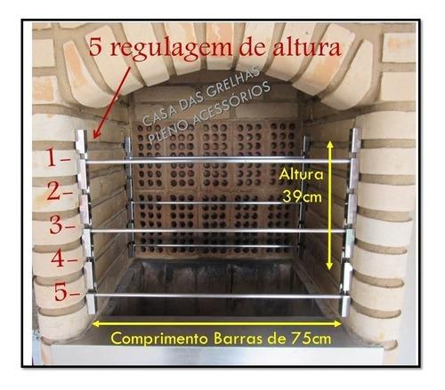suporte inox p/ churrasqueira c/6 barras alum larg 75cm tb
