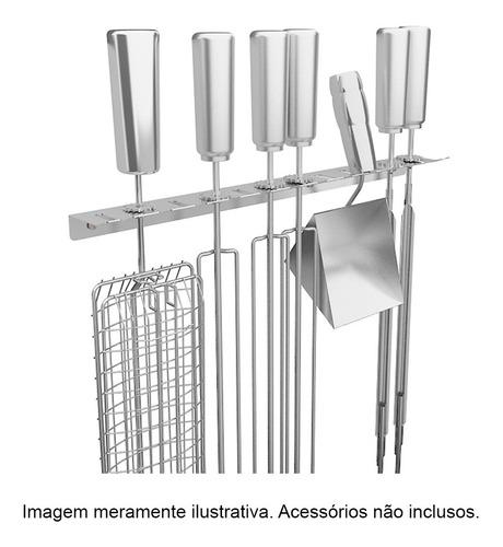 suporte inox pendurar espetos e acessórios - 12 lugares