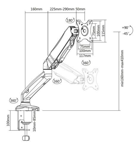 suporte monitor f80n elg pistão a gás com ajuste de altura