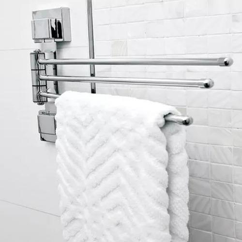 suporte móvel triplo toalha de mão louça aço cromado ventosa