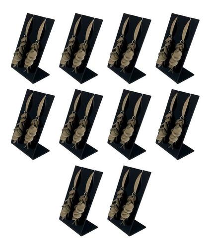 suporte organizador brinco bijuteria acrílico preto - 10un