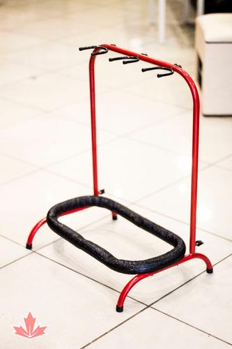 suporte p/ 3 instrumentos - vermelho/preto - robusto