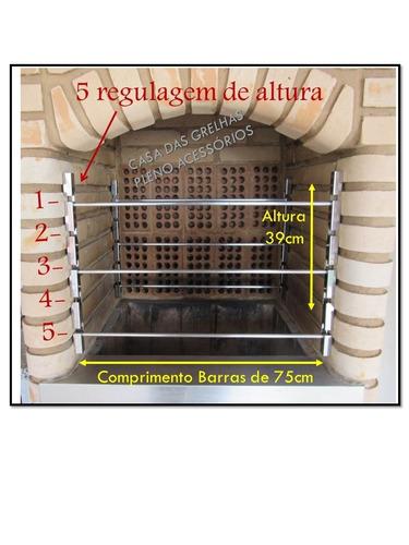 suporte p/ churrasqueira em aço inox + 6 tubos 75cm larg tb