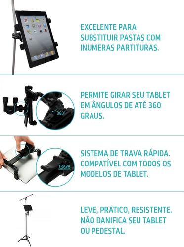 suporte p/ pedestal de microfone para ipad tablet 12 à 21cm