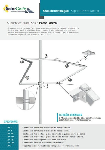 suporte painel placa solar 230w a 320w  fotovoltaico poste