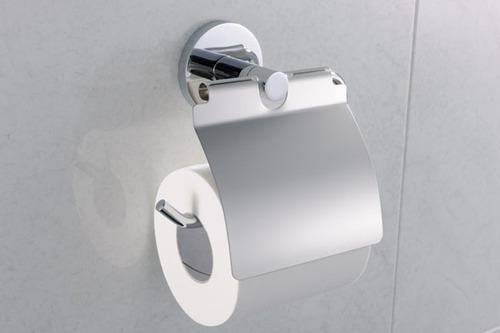 suporte papel higienico papeleira metal cromado acab redondo