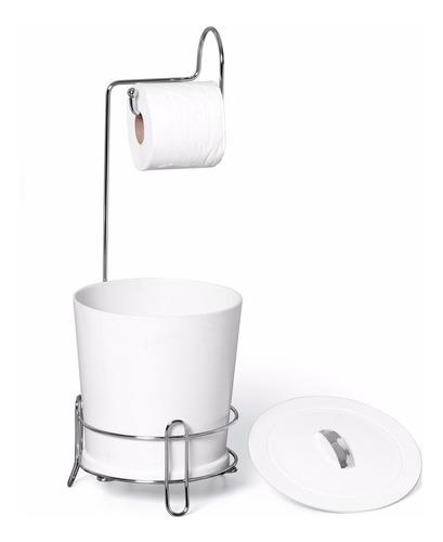 suporte papel higiênico com lixeira branca n304-4