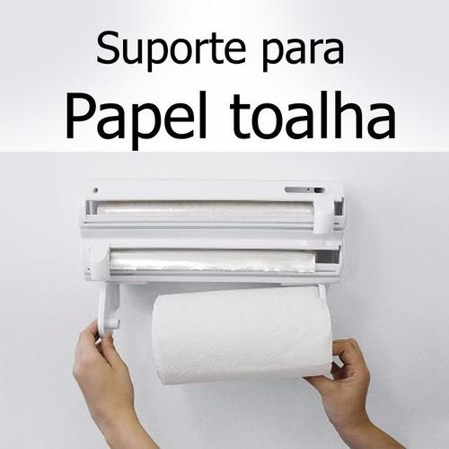 suporte papel porta aluminio filme cozinha rolo toalha 3 x 1