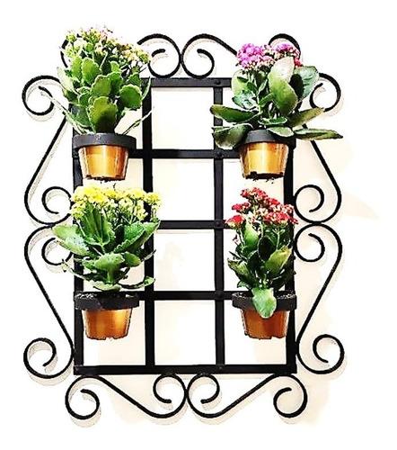 suporte para 4 vasos de planta  ferro para parede