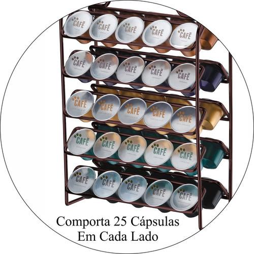 suporte para 50 cápsulas café nespresso bancada capuccino