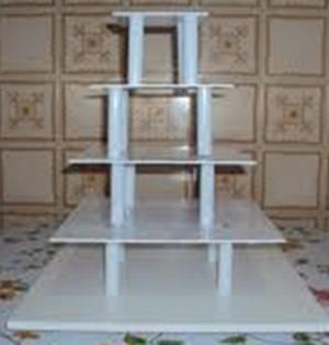 suporte para bolo 5 andares quadrado banquinho - 10cm altura
