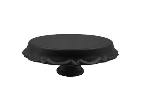 suporte para bolo doces cerâmica 29 cm - boleira preta