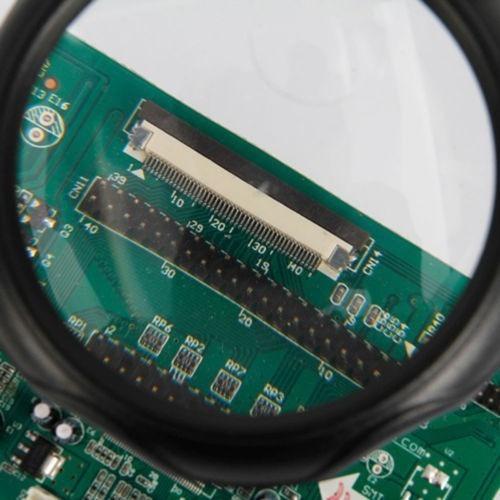 suporte para ferro de solda com lupa led + garra p/ eletroni