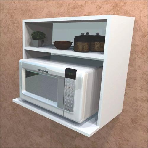 suporte para microondas com nicho mdf branco