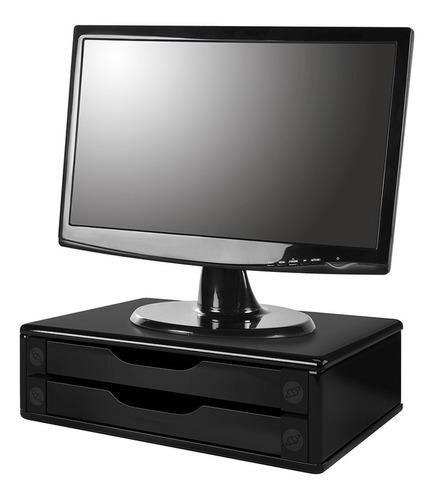 suporte para monitor 2 gavetas preto   souza 1015686