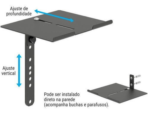 suporte para receptor de tv dvd blue ray preto infiniti aero
