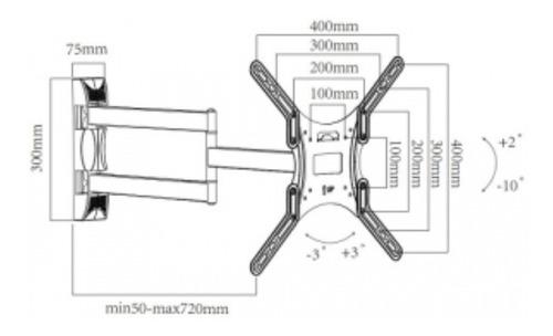 suporte para tv articulado super braço  26 a 55 sta521nl