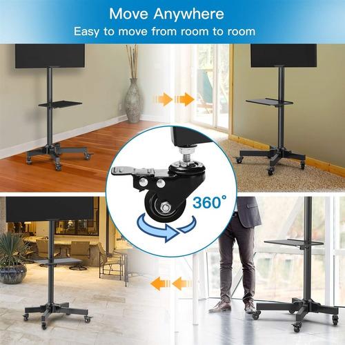 suporte para tv de chao com rodinhas pedestal universal top