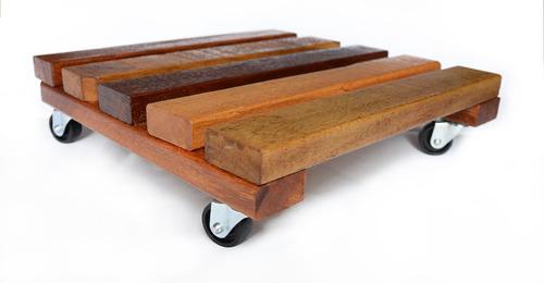 suporte para vaso 40x40cm base de madeira com rodizio