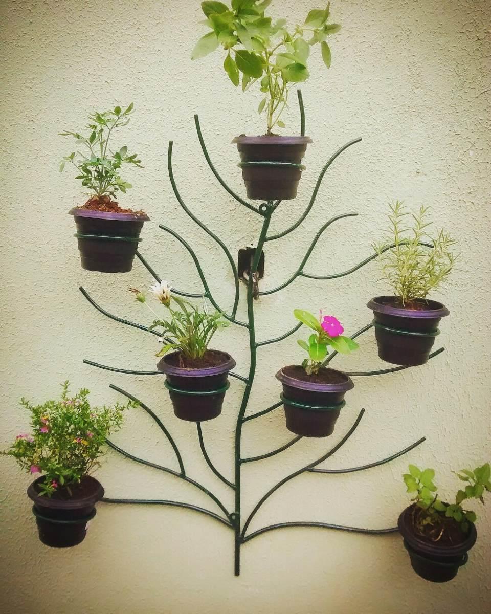 Suporte para vasos rvore em ferro r 230 00 em mercado - Macetas en la pared ...