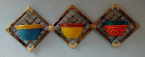 suporte para vasos em bambu - triplo
