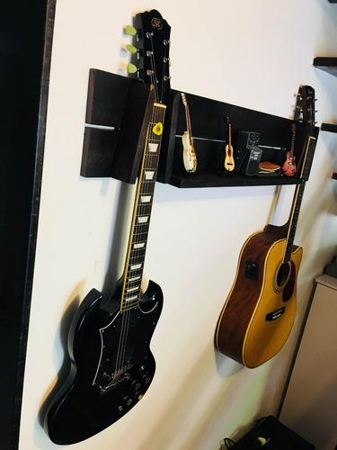 suporte parede madeira p/ guitarra, baixo, violão - 2 instr