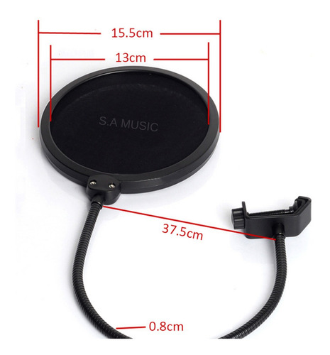 suporte pedestal mesa microfone estudio radio + pop filtro