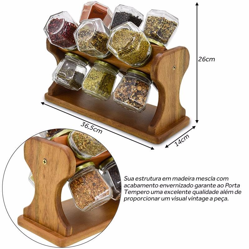 Suporte porta temperos condimento madeira girat rio 12 for O que e porta condimentos