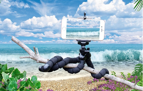 suporte tripé flexível celular preto mega promoção