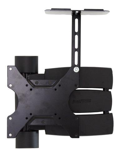 suporte tv smart até 55 triarticulado + prateleira conversor