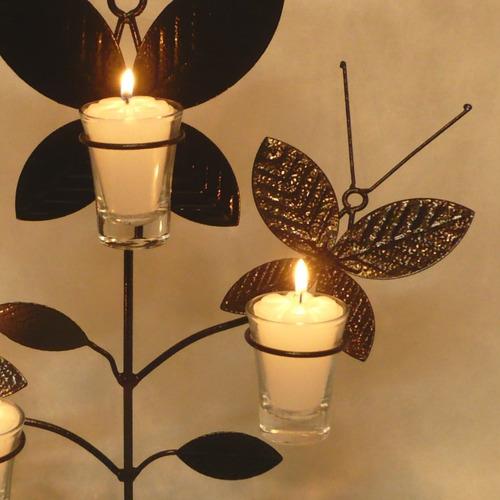 suporte velas 3 borboletas decoração castiçal candelabro