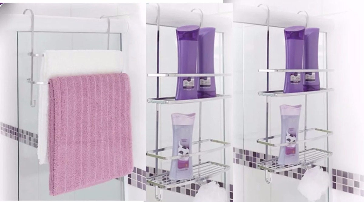 8ba83fb60 suportes banheiro para box suporte toalhas e 2 porta shampoo. Carregando  zoom.