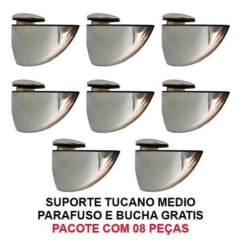 suportes tucano medio - 08 peças + parafusos e bucha grátis