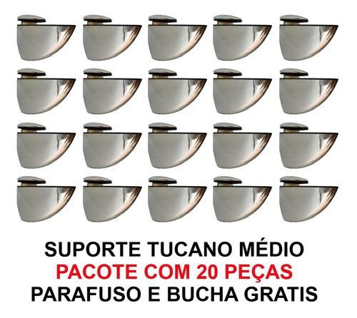 suportes tucano medio - 20 peças + parafusos e bucha grátis