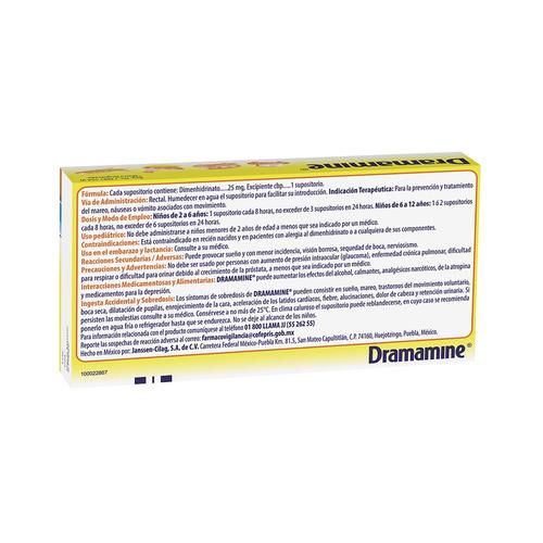 supositorios antimareo dramamine infantil 4 piezas 25 mg