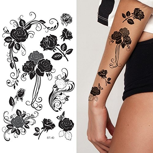 Supperb Tatuajes Temporales Rosas Negras Tribales 81 990 En