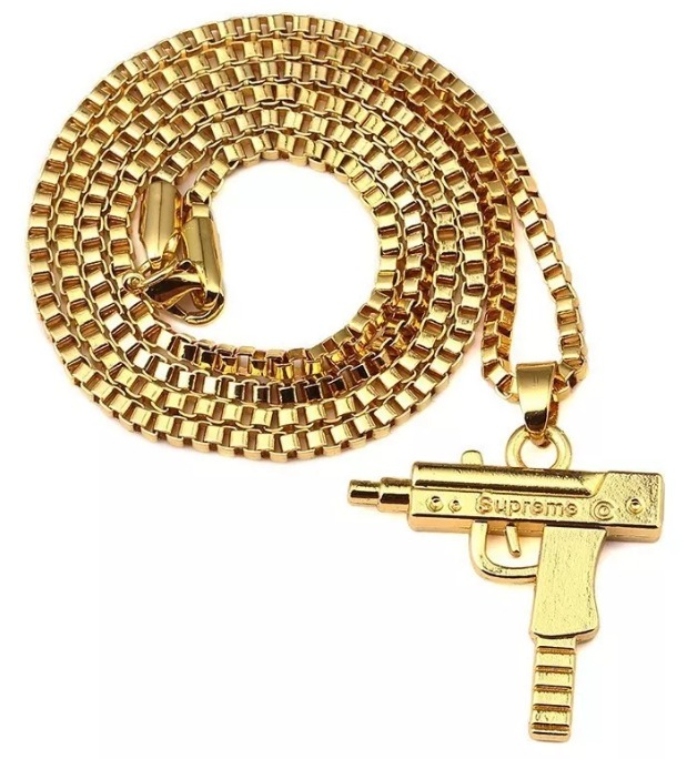 74108f7c2456 Supreme Colgante Uzi Collar Con Cadena Dorada Importada -   1.400