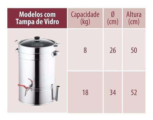 suqueira de inox 8kg - com fogareiro e termometro