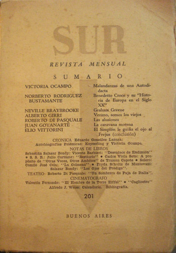 sur, revista mensual nro. 201, de victoria ocampo, ed. sur