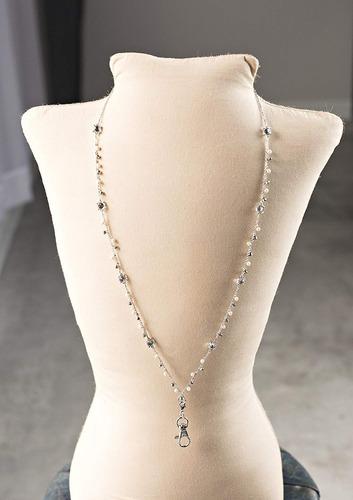 susanne perlado cristal colgar acollador collar (plata)
