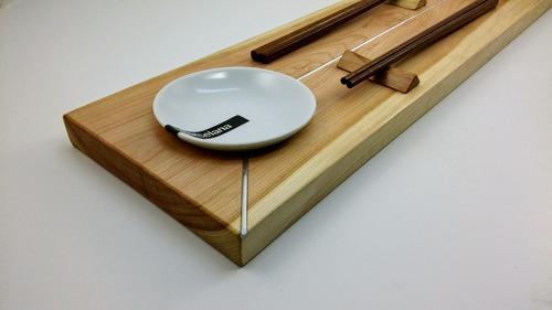 sushi set doble fusión metal recto chico madera de lenga